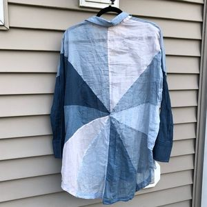 Free People Rainbow Rays Blue Combo Buttondown